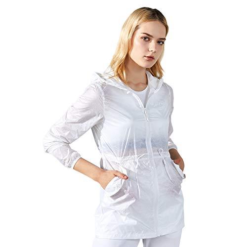 - TFO Women's Printed Anti UVA UPF 40+ Outdoor Jacket Packable Thin Windbreaker Hooded Skin Coat White S