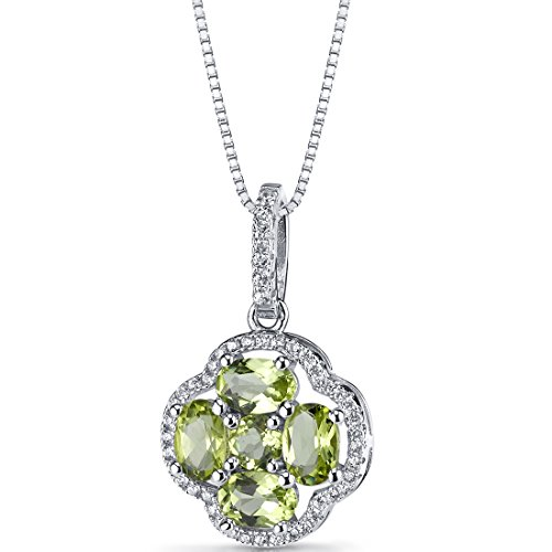 Peridot Clover Pendant Necklace Sterling Silver 2.25 Carats