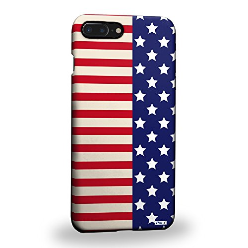 Pin-1 [Apple iPhone 8 Plus ] 3D Printed Snap-on Hard Case & Warranty Card - Art Half Stars And Stripes Banners Americana Design 1669