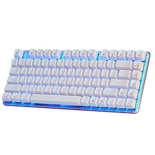 Mechanical Gaming Keyboard Blue Backlight GATERON Brown Switch 82-Keys(80%) Wired Mini Design Keyboard-Case White by Qisan ()