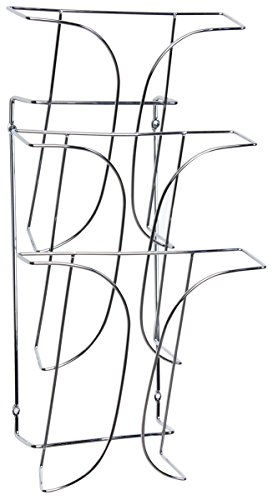 "Displays2go 8.5"" x 11"" 3-Tier Wall-Mounted Magazine Rack, Steel Wire, Set of 2, Chrome (3T1RWMMAG)"