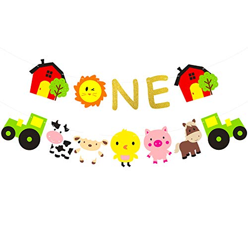BeYumi Farm Creatures 1st Birthday Party Decoration, Glitter Gold ONE Banner, Barnyard Themed Party Backdrop for Kids Birthday