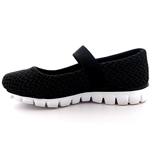 Caminar Elastic Deportes Entrenadores Mary Jane blanco Negro Para Yoga Mujer Malla Ligero xTX0qqI