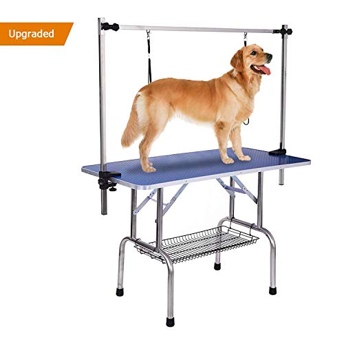 Gelinzon Dog Grooming Table, Large Heavy Duty w/Adjustable Overhead Arm and Clamps for Dogs and Pets