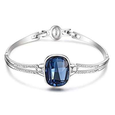 Hot Women Crystal Bangle Bracelet Made with Blue Crystals Jewelry 7 inch 2 fold clasps Christmas Gifts for sale