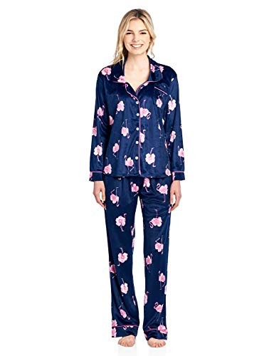 Ashford & Brooks Women's Long Sleeve Minky Micro Fleece Pajama Set- Navy Pink Flamingo- Large