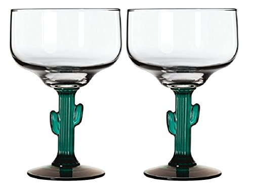 Margarita Glasses W/Cactus Green Decor Stem Lot Of Two 16 oz New (Personalized Margarita Glasses)