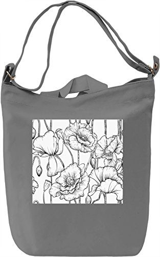 Black And White Drawn Flowers Pattern Borsa Giornaliera Canvas Canvas Day Bag| 100% Premium Cotton Canvas| DTG Printing|