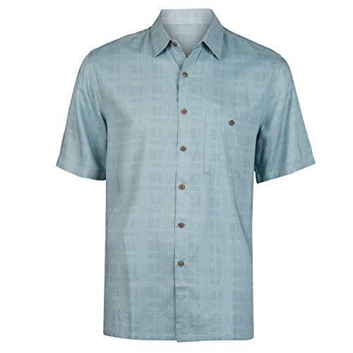 (Campia Men's Rayon Print Shirt Big and Tall (Tonal Printed Plaid Teal, 3LT))