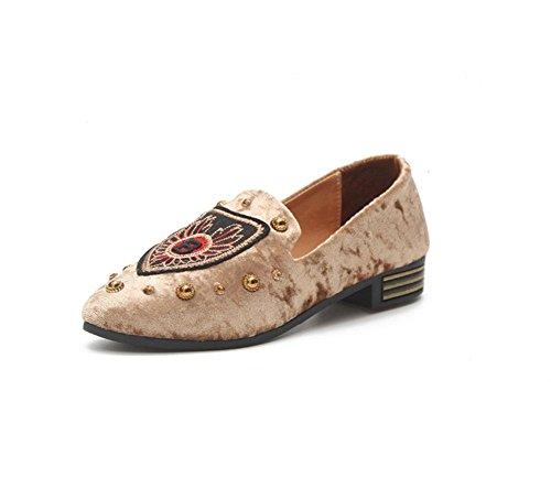 de MEILI ante 2 suela única Zapatos bordados planos de personalidad zapatos de rRRIZq