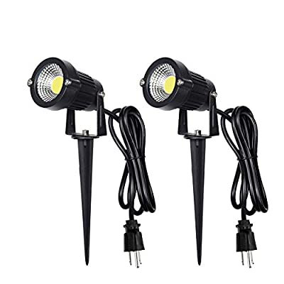 Z Outdoor Landscape LED Lighting 5W Waterproof Graden Lights COB Led Spotlights with Spiked Stand for Lawn Decorative Lamp US 3- Plug