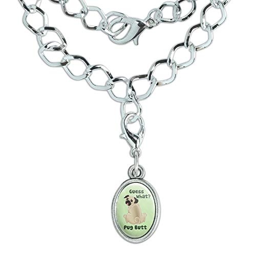 GRAPHICS & MORE Guess What? Pug Butt Silver Plated Bracelet with Antiqued Oval ()