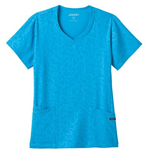 (Modern Fit Collection By Jockey Women's Solid Illusion Teardrop Pattern V-Neck Scrub Top Medium Turquoise)