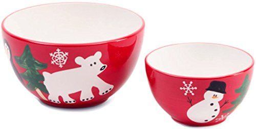 222 FIFTH Arctic Holiday Glazed Ceramic Mixing Bowls-2-Piece Set, Red