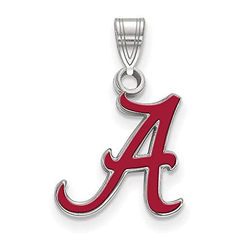925 Sterling Silver Officially Licensed University College of Alabama Small Enamel Pendant (19 mm x 12 mm) by Mia Diamonds and Co.