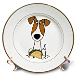 3dRose All Smiles Art - Pets - Cute Funny Jack Russell Terrier Puppy Dog Eating Taco - 8 inch Porcelain Plate (cp_291134_1)