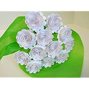 "White Carnations on Stems, Bouquet of 12 Scalloped Paper Roses, 1.5"" Flowers, January Birth Month 7"