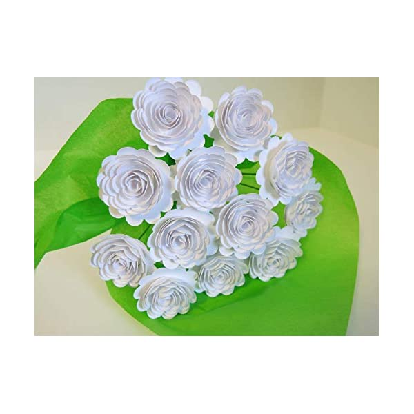 White Carnations on Stems, Bouquet of 12 Scalloped Paper Roses, 1.5 Inch Flowers, January Birth Month