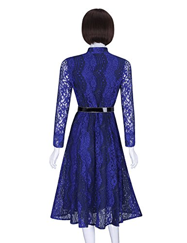 Dress Elegant Collar Women's Blue ADAMARIS Long Stand Floral Lace Fall Sleeve Swing pgv5Zxqw