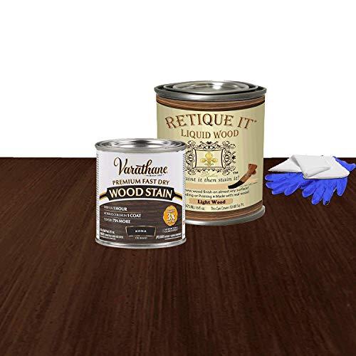 Retique It Liquid Wood - Pint Light with Kona Stain - Stainable Wood Fiber Paint - Put a fresh coat of wood on it (16oz LW, Kona)