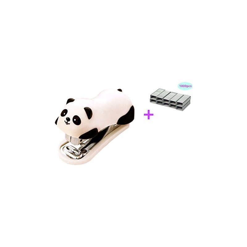 Yansanido Best Award to School Children MINI Cute Panda Mini Desktop Stapler with 1000 No.10 Staples for Office School Home Travel and Best Cute Gift for Friends and Children(panda)