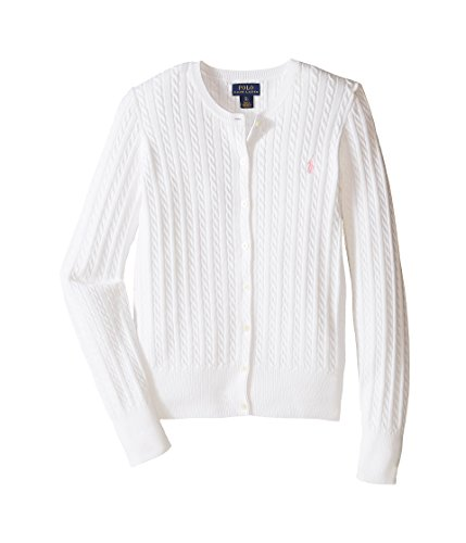 Ralph Lauren Girls Knit Sweater (Ralph Lauren Polo Girls Cotton Knit Cable Cardigan Sweater (Medium 8 -10 ))