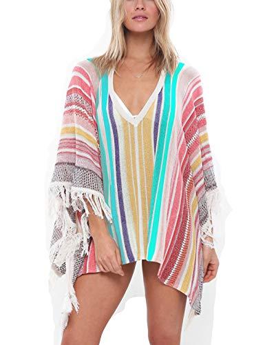 (Ailunsnika Women Sexy V Neck Lace Up Tassel Crochet Knitted Swimwear Bikini Cover Up Multicolor Tunic Beach Dress)
