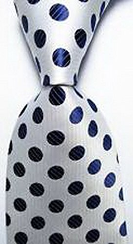 Romario Groomsmen Luxury Necktie Polka Dot White Dark Blue JACQUARD WOVEN Men's Tie