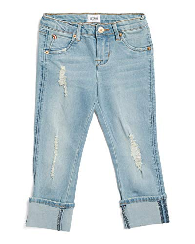 HUDSON Kids Little Girls Roll Cuff Cropped Skinny Jean, Blasted Blue - 6