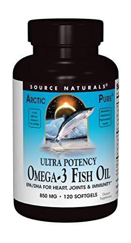 Source Naturals ArcticPure Omega-3 Fish Oil 850mg Ultra Potency Maximum Strength EPA + DHA For Heart, Joint, Brain & Immune Health - 120 Softgels