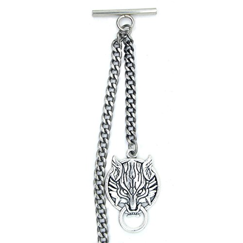Albert Chain Pocket Watch Curb Link Chain Antique Silver Color Ancient Animal Fob T Bar AC45 by watchvshop (Image #3)
