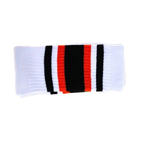 Choobes (Unisex) 19 pollici Mid-calf Bianco Tubo Calzino con Nero / Orange Stripes