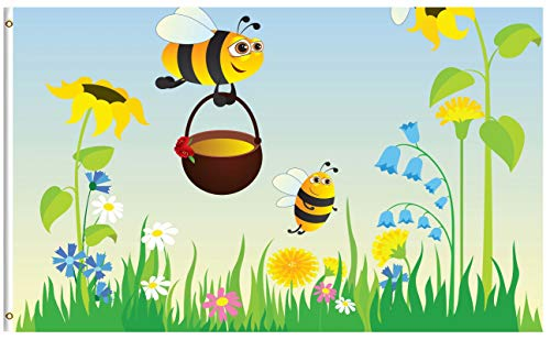 ShineSnow Meadow Cute Bees Honey Daisy Sunflower 3x5 Feet Fl