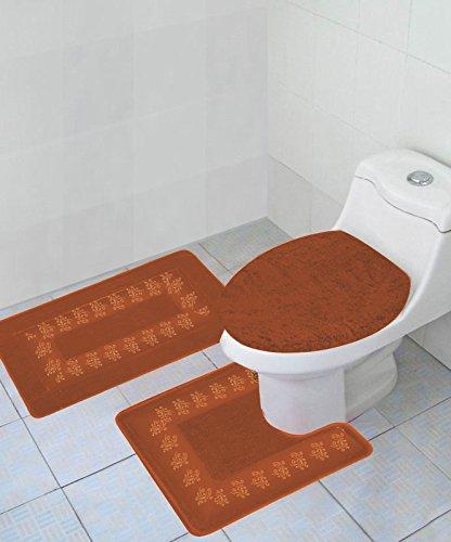 GorgeousHome (#5) 3pc Solid Accent Floral Bathroom Bath Rug Contour Set with Toilet Lid Cover Non Slip Mats Assorted Colors - Contour Rugs Rust
