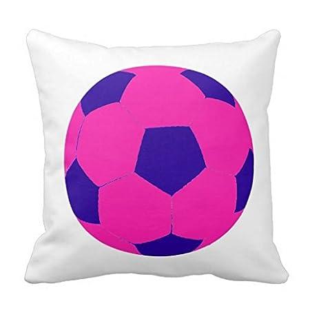 Rosa y azul de balón de fútbol manta funda de almohada: Amazon.es ...
