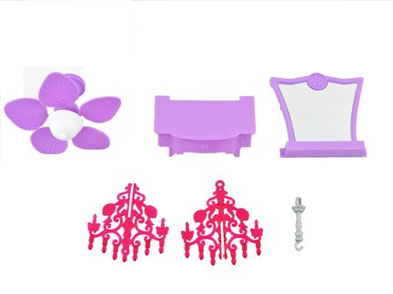 Barbie Malibu Dreamhouse / Dream House - Replacement Parts: Vanity, Chandelier, Ceiling Fan