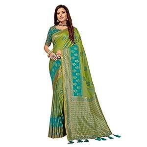MANOHARI Women's Banarasi Silk Jacquard Saree with Blouse Piece (MN873, Green and Turquoise)