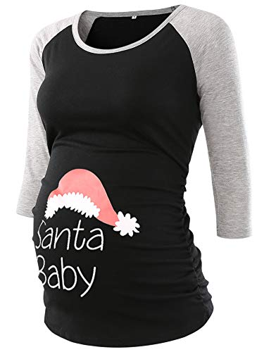 Pregnancy T-shirt Maternity (Jezero Women's Christmas Maternity Tops 3/4 Sleeve Baseball Crew Neck Flattering Side Ruching Pregnancy T-Shirt)