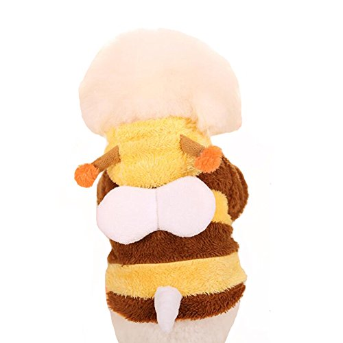WORDERFUL Pet Winter Coat Bee Costume Dog Warm Fleece Outfit Cat Cold Weather Warm Coat for Small and Medium Dog (XL)