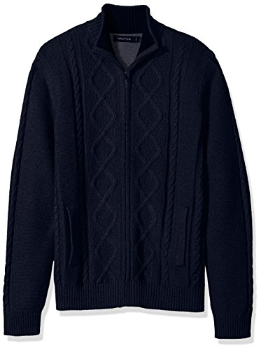 Nautica Men's Standard Long Sleeve V-Neck Cable Sweater, True Navy, Medium