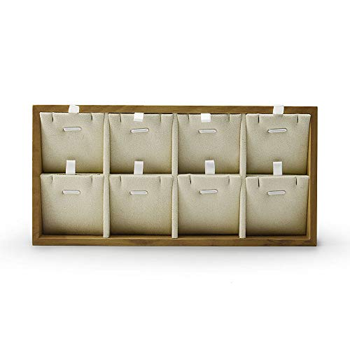Oirlv Solid Wood Jewelry Organizer Tray Pendant Necklace Storage with Pads (Creamy-White)