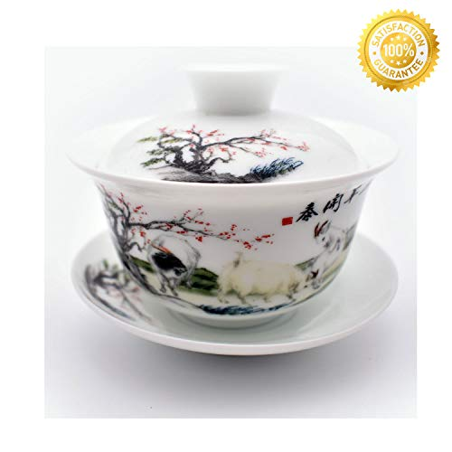 Teacups set,QMFIVE,Chinese Traditional Teaware Blue and White Porcelain Gaiwan Kungfu Tea bowl with Lid and Saucer - 6oz/180ml,Auspicious