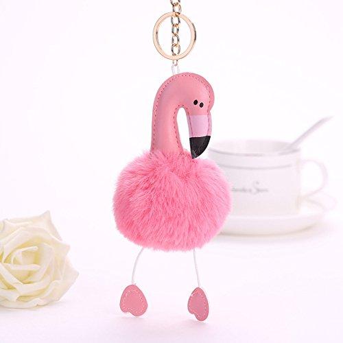 1pcsかわいいふわふわFlamingoキーチェーンRabbit Fur Pom Pomsウサギキーホルダーレディースバッグチャームキーリングボール人形車キーリング ピンク 32818345317_Pink B078XV1QV6 ピンク