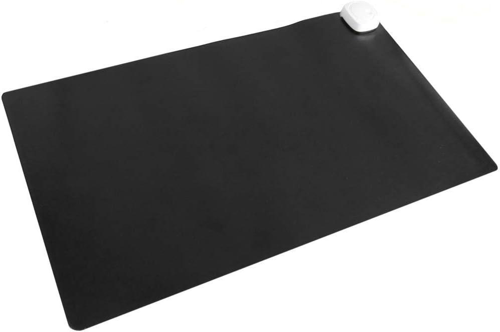 PrimeMatik - Alfombra y Superficie térmico con calefacción para Escritorio Suelo y pies de 60 x 36 cm 85W Negro