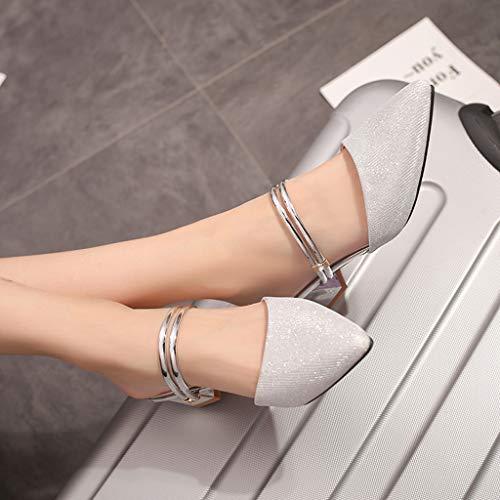 Chaussures À Hauts Boucle Femmes Pantoufles Sandales Argent Pointues Baotou Half Strap Stiletto Plateforme Talonshauts Et Ankle Talons BvYwT
