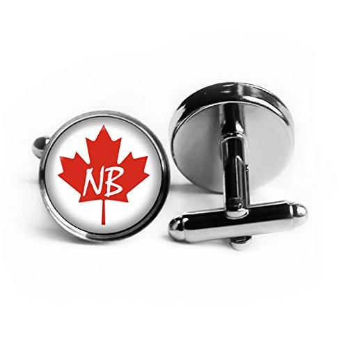Canada Canadian Flag Province New Brunswick NB Rhodium Plated Silver (New Rhodium Cufflinks Cufflink)