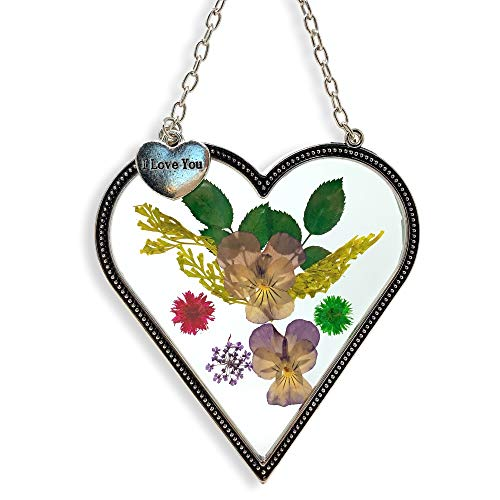 - BANBERRY DESIGNS I Love You - Heart Sun Catcher - Pressed Flowers Suncatcher with I Love You Hanging Charm