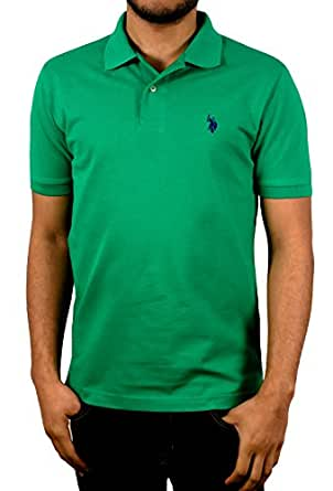U.S. Polo Assn. Men's Solid Shirt with Pony Logo, Amazon Green, Small
