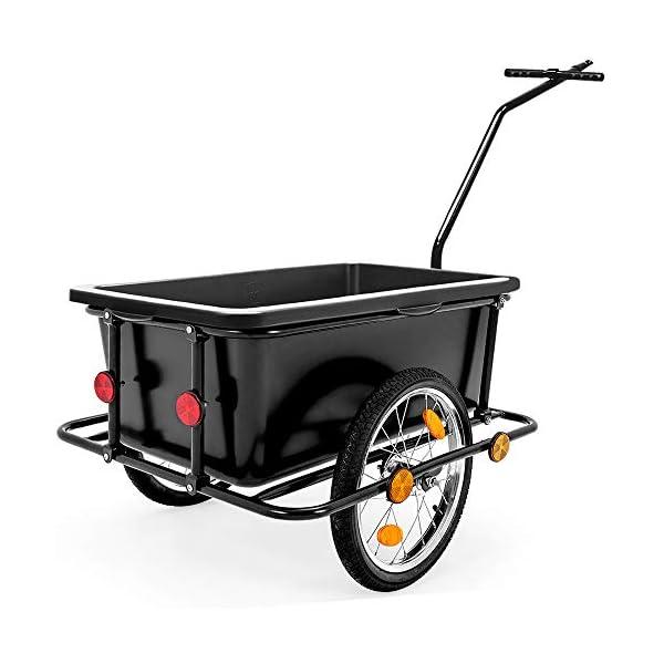 Deuba Rimorchio per bicicletta vasca in plastica rimovibile 90 L carrello per bici trasporto oggetti 80Kg 4 spesavip