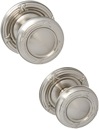 Ribbon And Reed Door Set With Round Brass Knobs Double Dummy In Satin Nickel. Old Door Knobs. ()